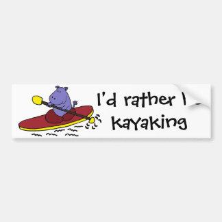 Dibujo animado Kayaking del hipopótamo divertido Pegatina Para Auto