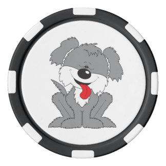 Dibujo animado lanudo del perrito fichas de póquer