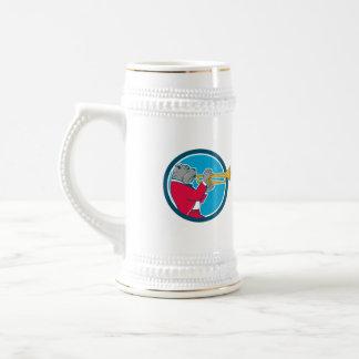 Dibujo animado lateral del círculo de la trompeta jarra de cerveza