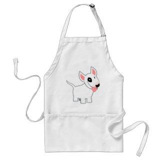 Dibujo animado lindo bull terrier que cocina el de delantal
