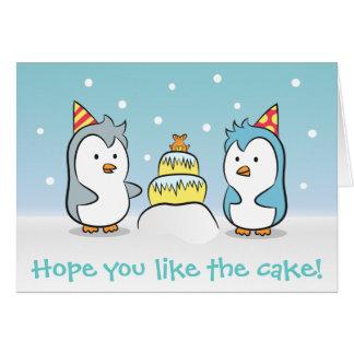 Dibujo animado lindo - celebración del cumpleaños tarjeta de felicitación