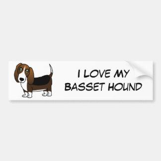 Dibujo animado lindo de Basset Hound - Brown blanc Pegatina Para Auto