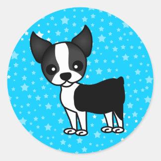 Dibujo animado lindo de Boston Terrier Pegatina Redonda