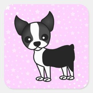 Dibujo animado lindo de Boston Terrier Pegatina Cuadrada