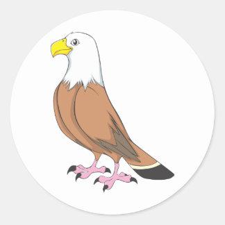 Dibujo animado lindo de encargo de Eagle Pegatina Redonda