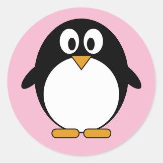 Dibujo animado lindo de Kawaii del pingüino Pegatina Redonda