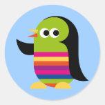 Dibujo animado lindo de la Antártida del pájaro de Etiquetas Redondas