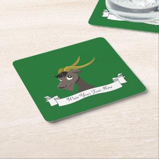 Dibujo animado lindo de la cabra salvaje posavasos personalizable cuadrado