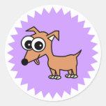 Dibujo animado lindo de la chihuahua etiqueta redonda