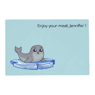 Dibujo animado lindo de la cría de foca salvamanteles