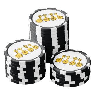 Dibujo animado lindo de la jirafa juego de fichas de póquer