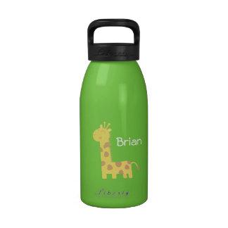 Dibujo animado lindo de la jirafa sonriente botellas de agua reutilizables