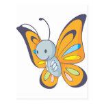 Dibujo animado lindo de la mariposa del bebé postal