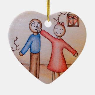 Dibujo animado lindo de la nariz de los muchachos adorno navideño de cerámica en forma de corazón