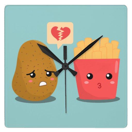 Dibujo animado lindo de la patata y de las reloj cuadrado