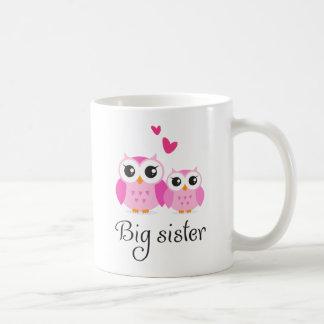 Dibujo animado lindo de la pequeña hermana de la h taza de café