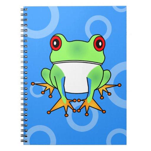 Dibujo animado lindo de la rana arbórea - círculos cuaderno