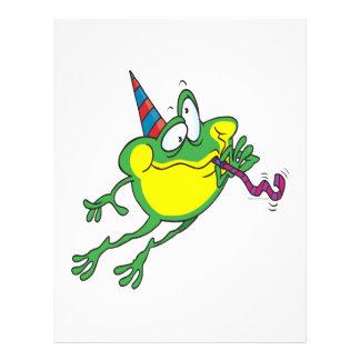 """dibujo animado lindo de la rana del fiesta folleto 8.5"""" x 11"""""""