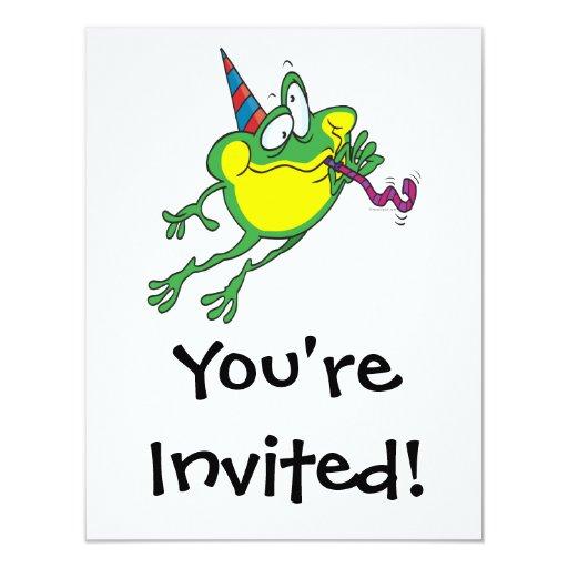 dibujo animado lindo de la rana del fiesta invitación 10,8 x 13,9 cm