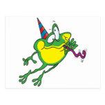 dibujo animado lindo de la rana del fiesta postal