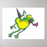 dibujo animado lindo de la rana del fiesta poster
