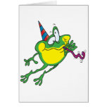 dibujo animado lindo de la rana del fiesta tarjeta de felicitación
