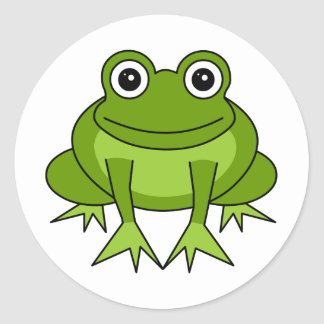 Dibujo animado lindo de la rana - príncipe en el pegatina redonda