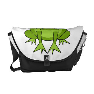 Dibujo animado lindo de la rana verde bolsas messenger