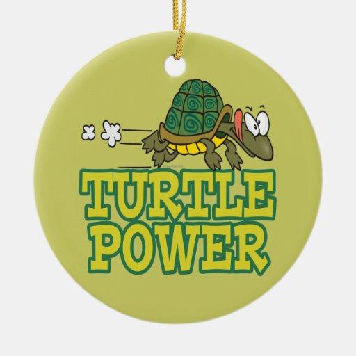 dibujo animado lindo de la tortuga del poder de la adorno navideño redondo de cerámica