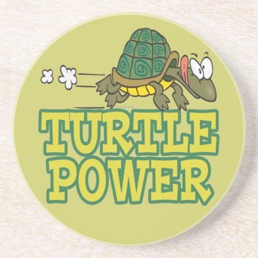 dibujo animado lindo de la tortuga del poder de la posavasos personalizados