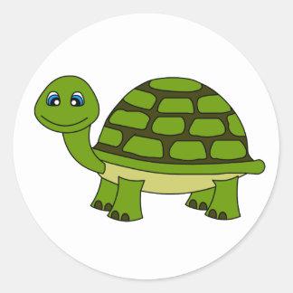 Dibujo animado lindo de la tortuga pegatinas redondas
