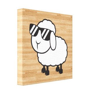 Dibujo animado lindo de las ovejas blancas impresiones de lienzo