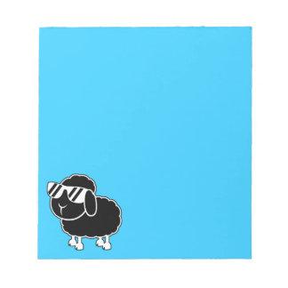 Dibujo animado lindo de las ovejas negras bloc de notas