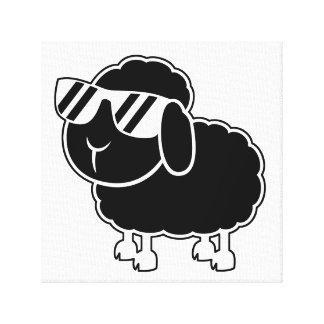 Dibujo animado lindo de las ovejas negras impresión de lienzo