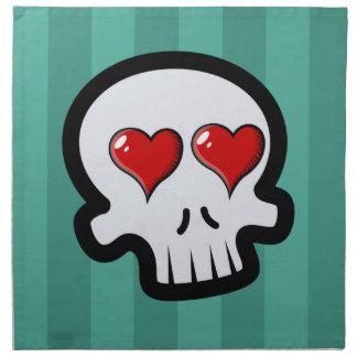 Dibujo animado lindo de los cráneos del corazón servilletas imprimidas