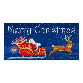 Dibujo animado lindo de Papá Noel de las Felices Póster