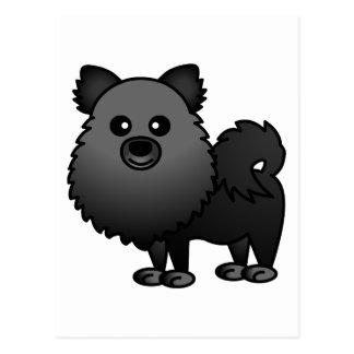 Dibujo animado lindo de Pomeranian - negro Tarjetas Postales