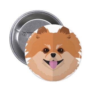 ¡Dibujo animado lindo de Pomeranian! Pin Redondo De 2 Pulgadas