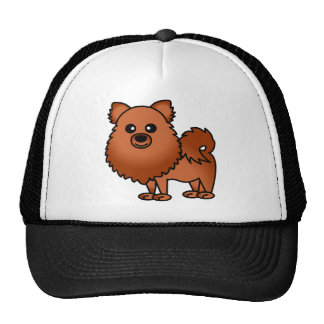 Dibujo animado lindo de Pomeranian - rojo Gorros