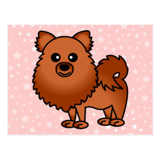 Dibujo animado lindo de Pomeranian - rojo Tarjeta Postal