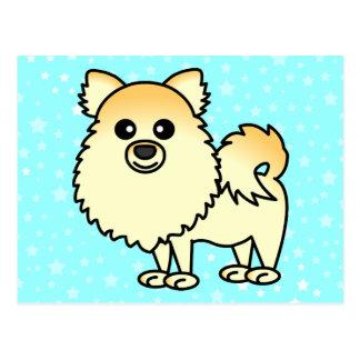 Dibujo animado lindo de Pomeranian Tarjetas Postales