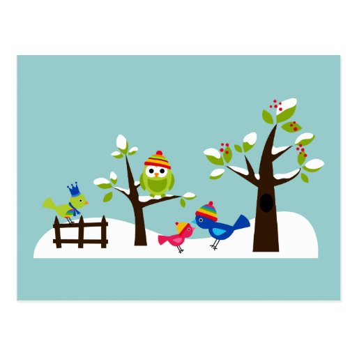 Dibujo animado lindo del árbol de la nieve del inv postales