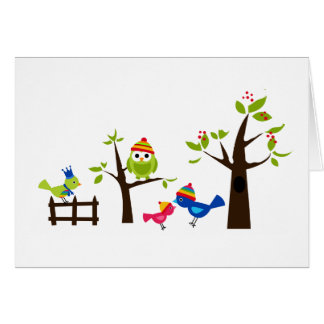 Dibujo animado lindo del árbol de la nieve del tarjeta de felicitación