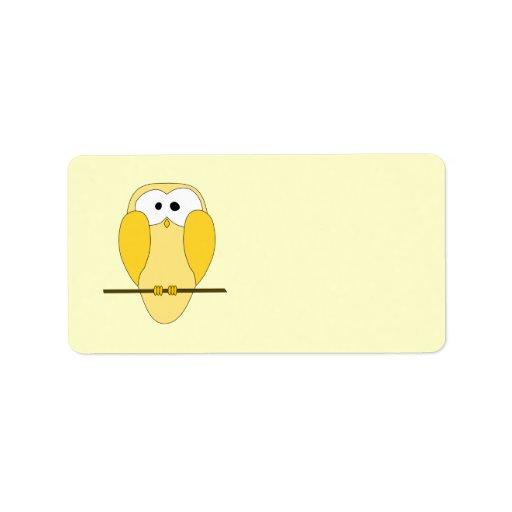 Dibujo animado lindo del búho. Amarillo Etiquetas De Dirección