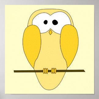 Dibujo animado lindo del búho Amarillo Poster
