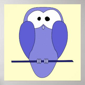 Dibujo animado lindo del búho Azul Posters