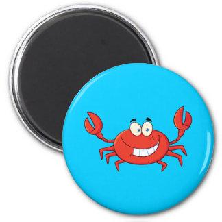Dibujo animado lindo del cangrejo imán redondo 5 cm