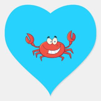 Dibujo animado lindo del cangrejo pegatina en forma de corazón