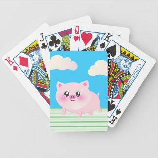 Dibujo animado lindo del cerdo baraja de cartas bicycle