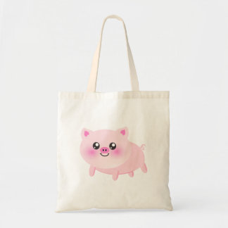 Dibujo animado lindo del cerdo bolsa tela barata